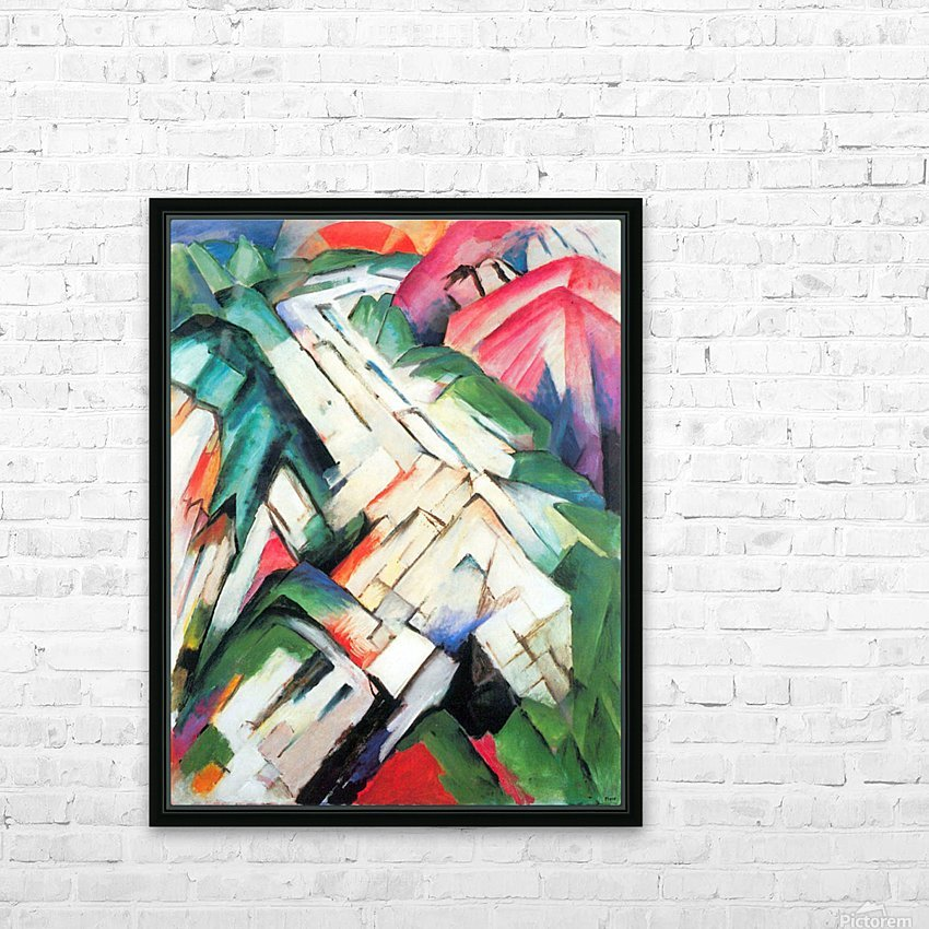 Mountains - landscape by Franz Marc HD Sublimation Metal print with Decorating Float Frame (BOX)