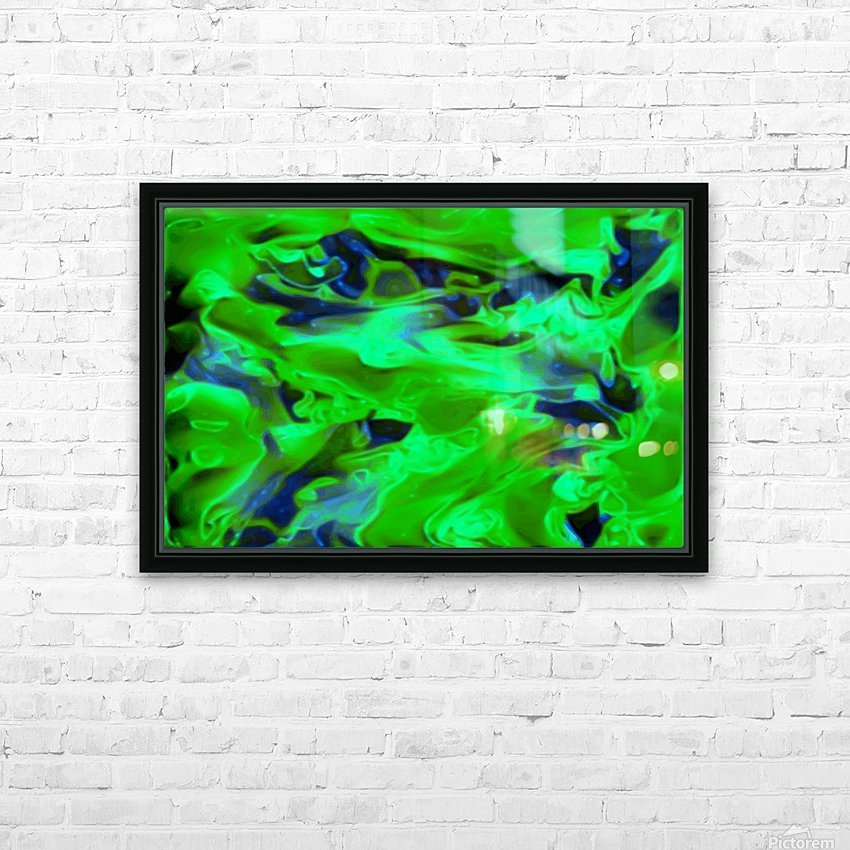 Gemphire - emerald green dark blue abstract swirls wall art HD Sublimation Metal print with Decorating Float Frame (BOX)