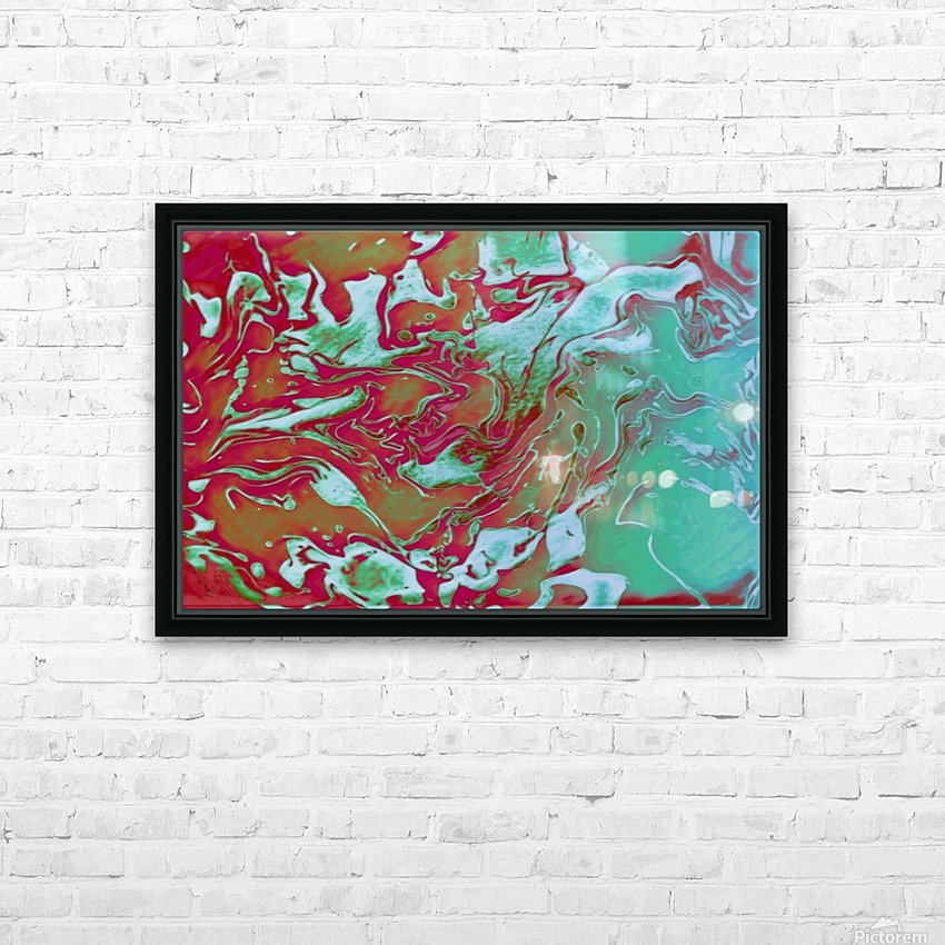 Fire and Ice - turquoise red gradient abstract swirl wall art HD Sublimation Metal print with Decorating Float Frame (BOX)