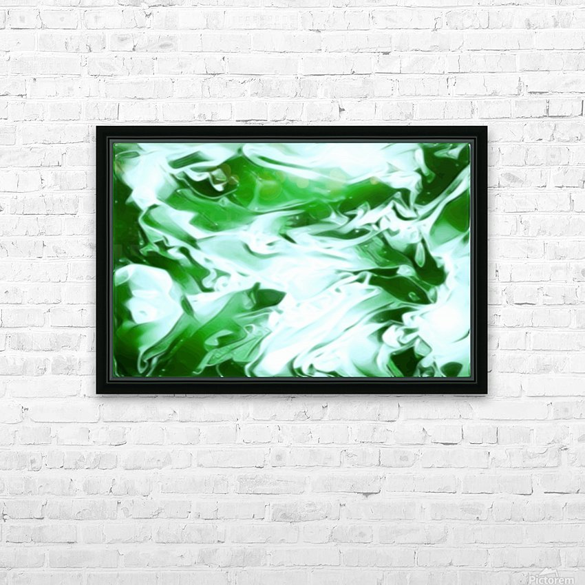 Clover - green white abstract swirl wall art HD Sublimation Metal print with Decorating Float Frame (BOX)