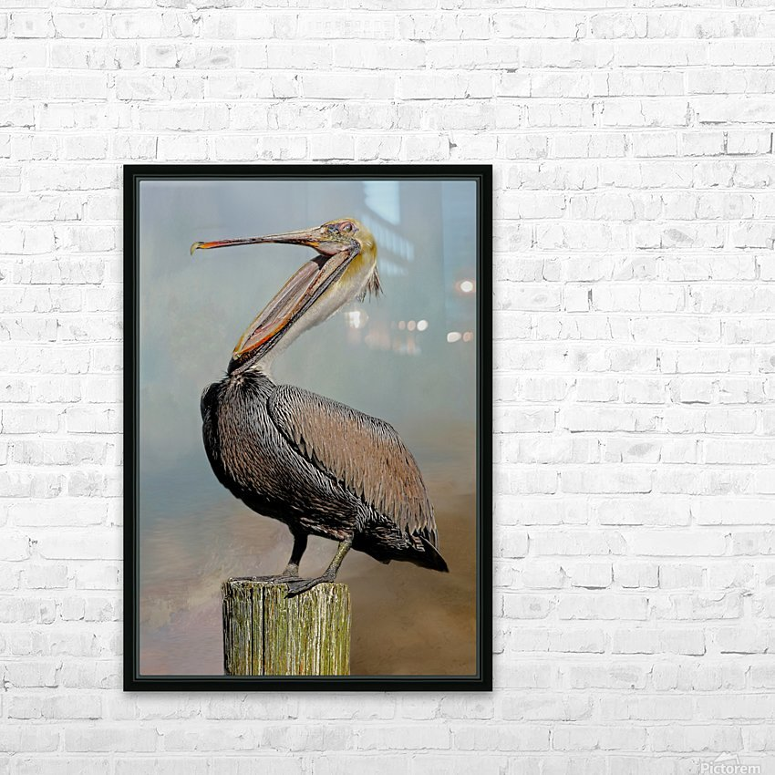 Belly Laugh-Brown Pelican  HD Sublimation Metal print with Decorating Float Frame (BOX)