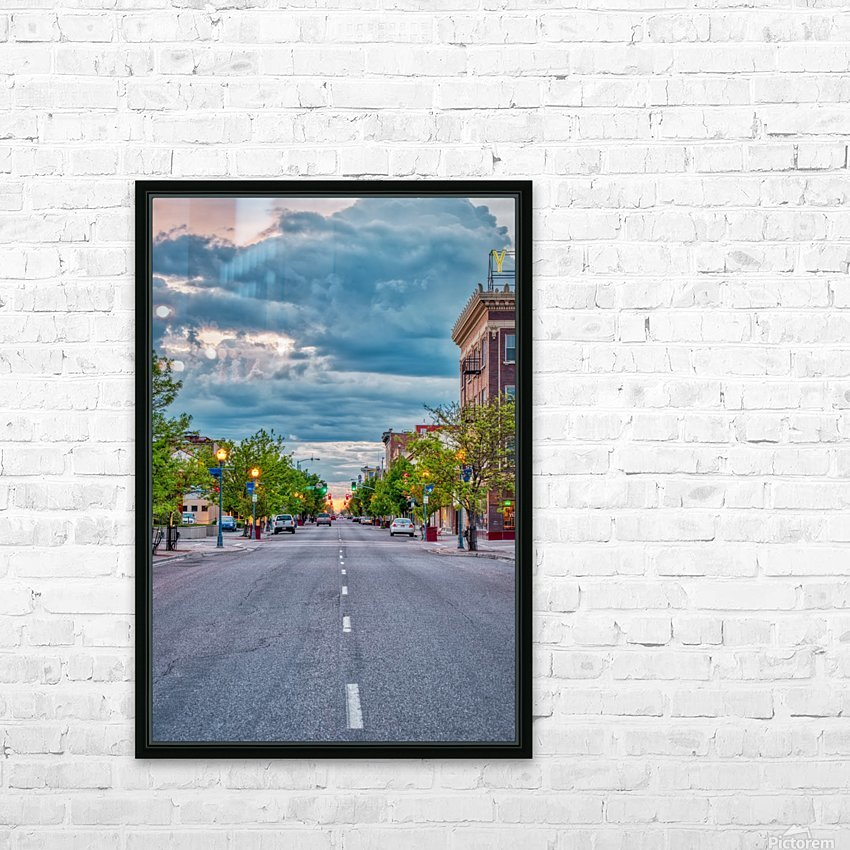 Storm Over Main Street HD Sublimation Metal print with Decorating Float Frame (BOX)