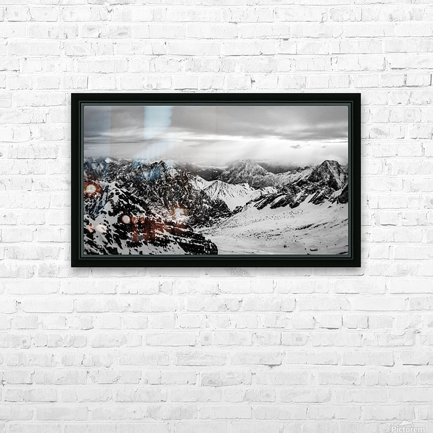 Zugspitze in black and white HD Sublimation Metal print with Decorating Float Frame (BOX)