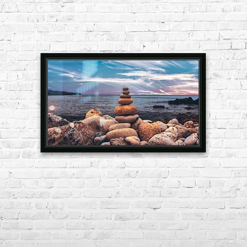 Rock balancing  HD Sublimation Metal print with Decorating Float Frame (BOX)
