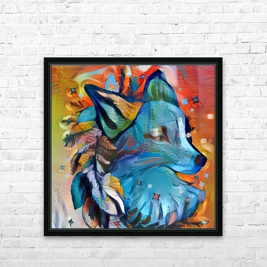 The Blue Wolf HD Sublimation Metal print with Decorating Float Frame (BOX)