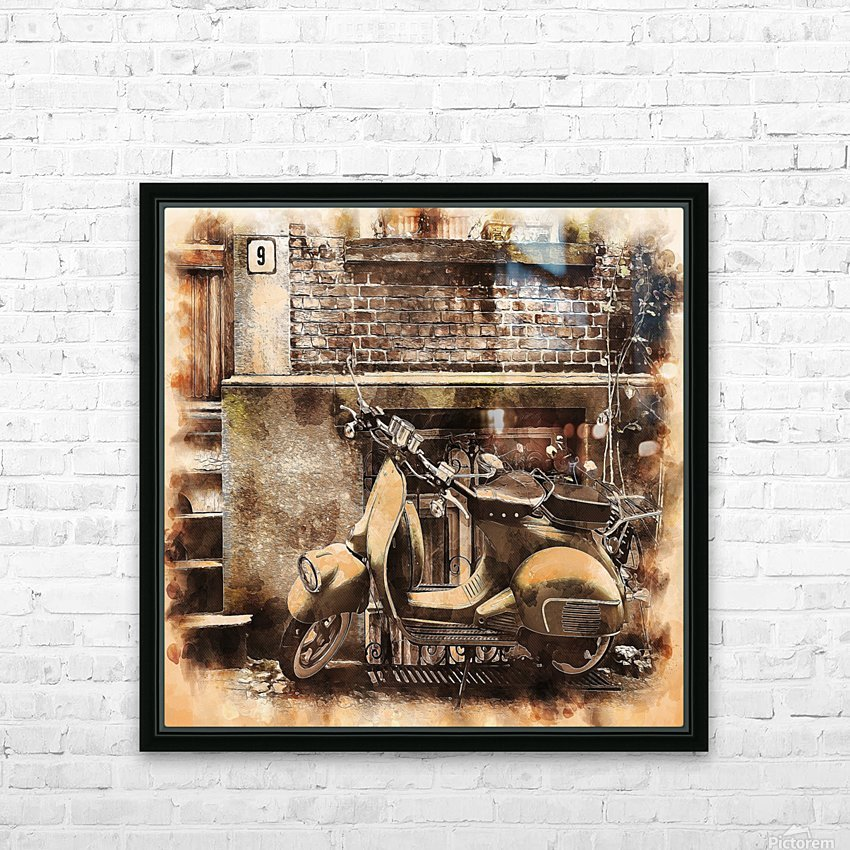 moped scooter parked building HD Sublimation Metal print with Decorating Float Frame (BOX)