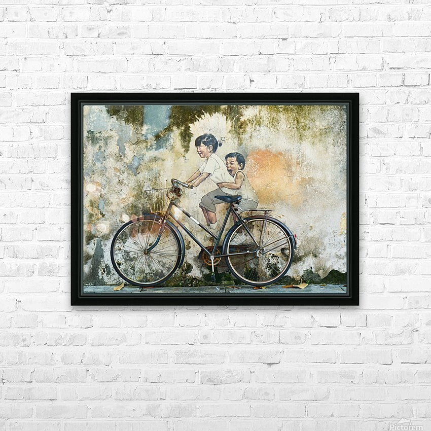 bicycle children graffiti art HD Sublimation Metal print with Decorating Float Frame (BOX)