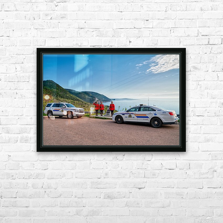 RCMP with cruisers at French Mountain Monument HD Sublimation Metal print with Decorating Float Frame (BOX)