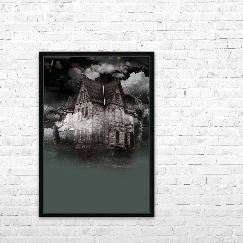 haunted night building HD Sublimation Metal print with Decorating Float Frame (BOX)