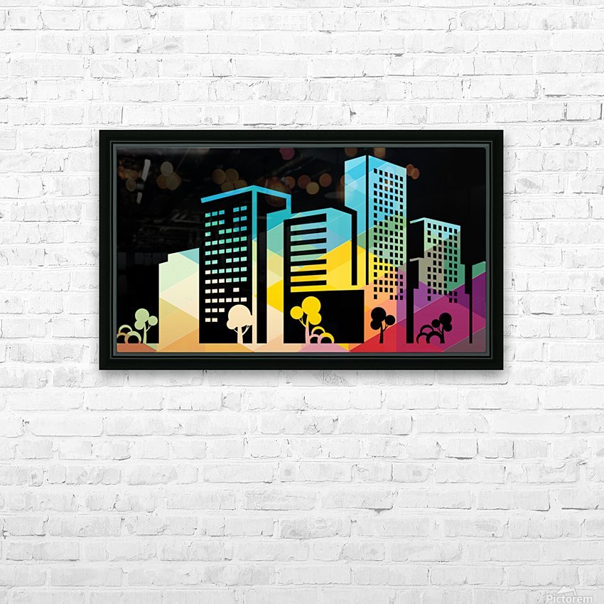 silhouette cityscape building icon color city HD Sublimation Metal print with Decorating Float Frame (BOX)