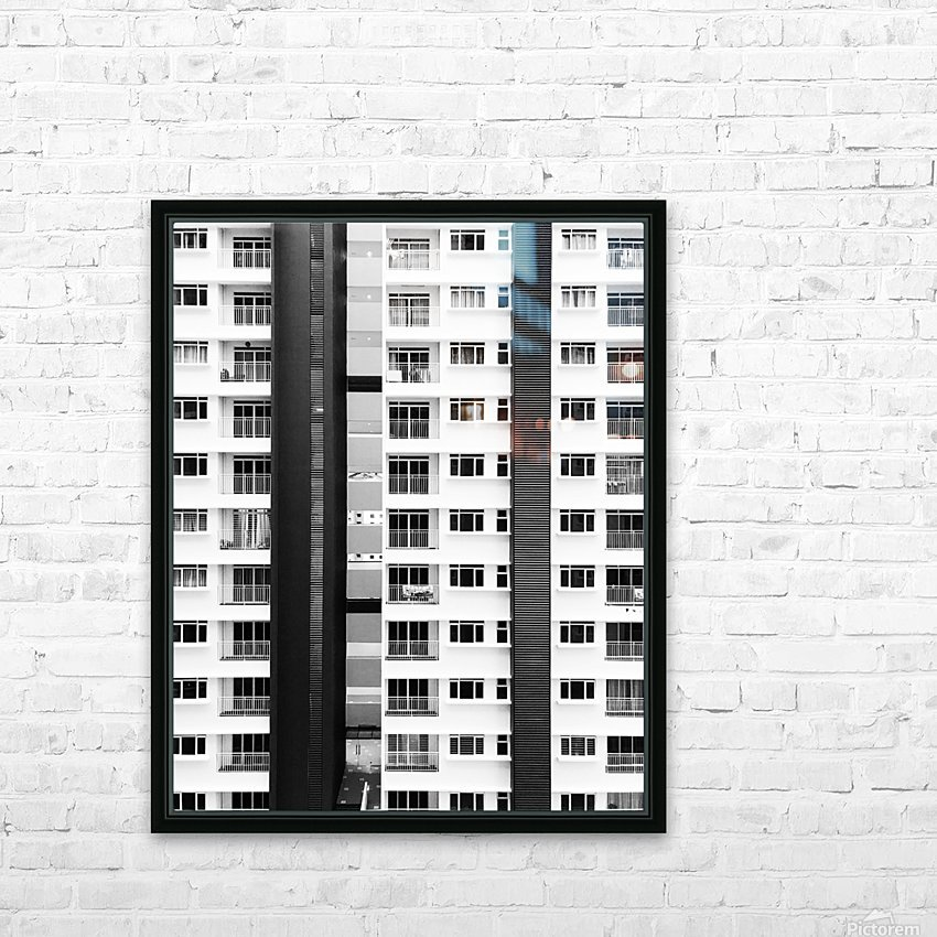 white and black city buildings HD Sublimation Metal print with Decorating Float Frame (BOX)