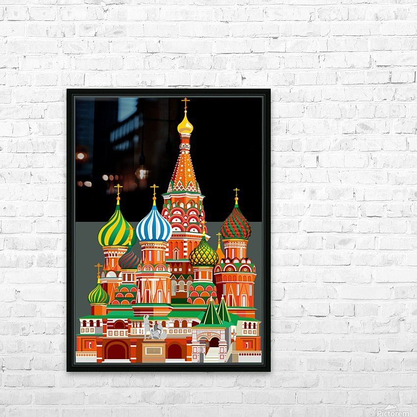 moscow kremlin saint basils cathedral red square l vector illustration moscow building HD Sublimation Metal print with Decorating Float Frame (BOX)