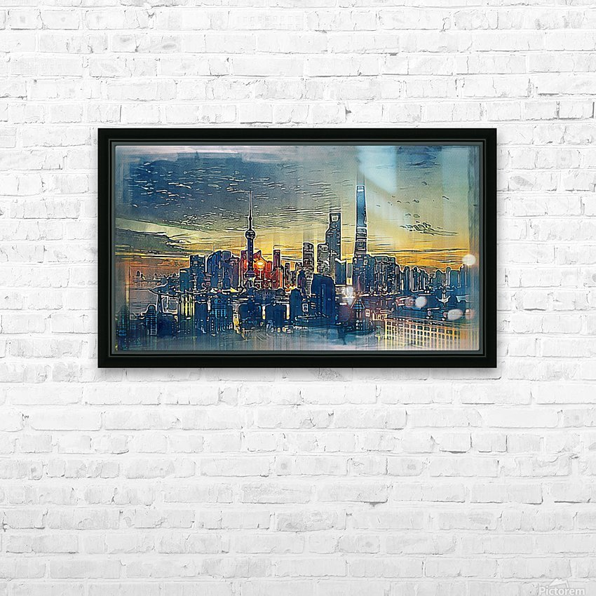 city metro pole buildings HD Sublimation Metal print with Decorating Float Frame (BOX)