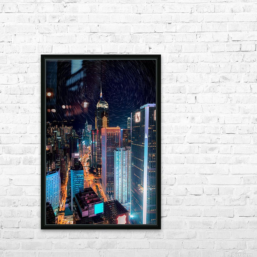 high rise buildings with lights HD Sublimation Metal print with Decorating Float Frame (BOX)