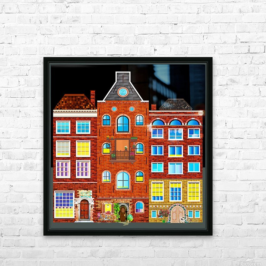 town buildings old brick building HD Sublimation Metal print with Decorating Float Frame (BOX)