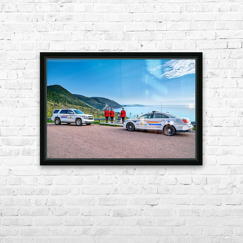 RCMP at ease with cruisers at French Mountain Monument HD Sublimation Metal print with Decorating Float Frame (BOX)