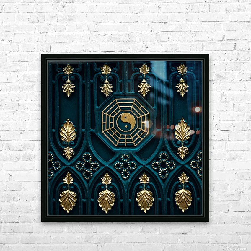 blue and brown yin yang illustration HD Sublimation Metal print with Decorating Float Frame (BOX)