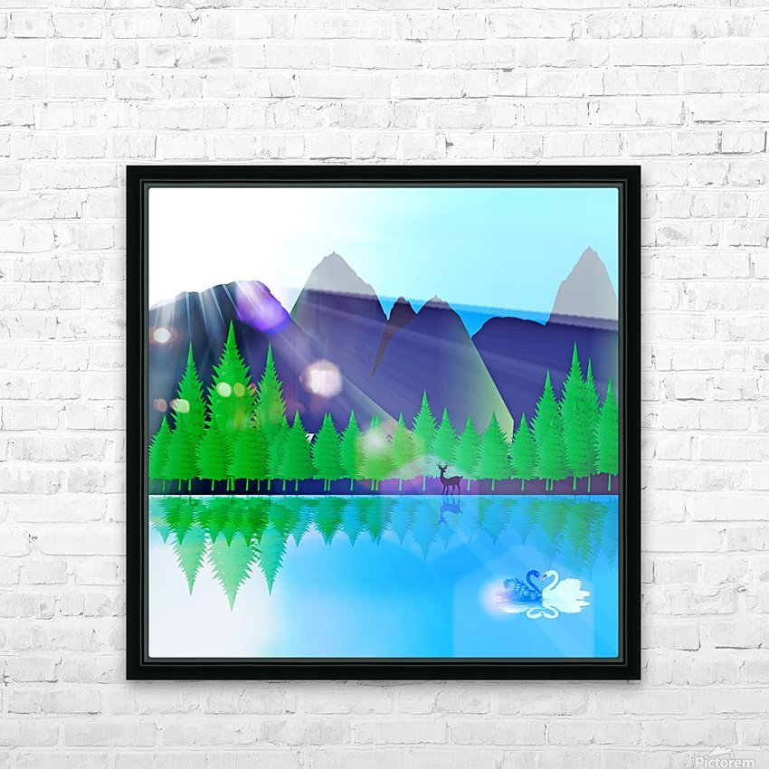 forest landscape pine trees forest HD Sublimation Metal print with Decorating Float Frame (BOX)