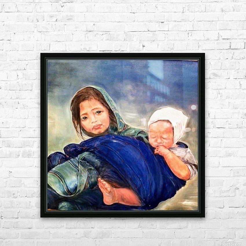 Child raising a Child HD sublimation métal imprimé avec décoration flotteur cadre (boîte)
