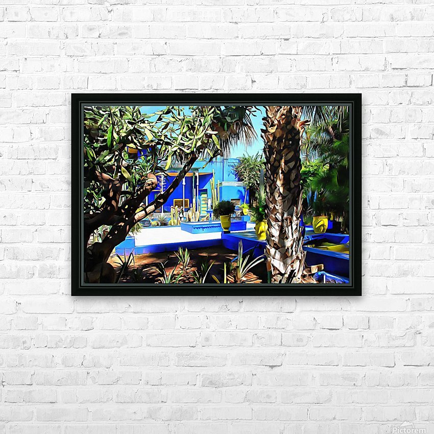 Yellow and Blue Contrasts Jardin Majorelle HD Sublimation Metal print with Decorating Float Frame (BOX)