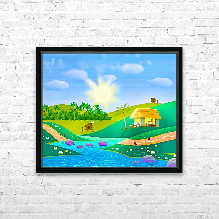 tropical resort huts lake river HD Sublimation Metal print with Decorating Float Frame (BOX)