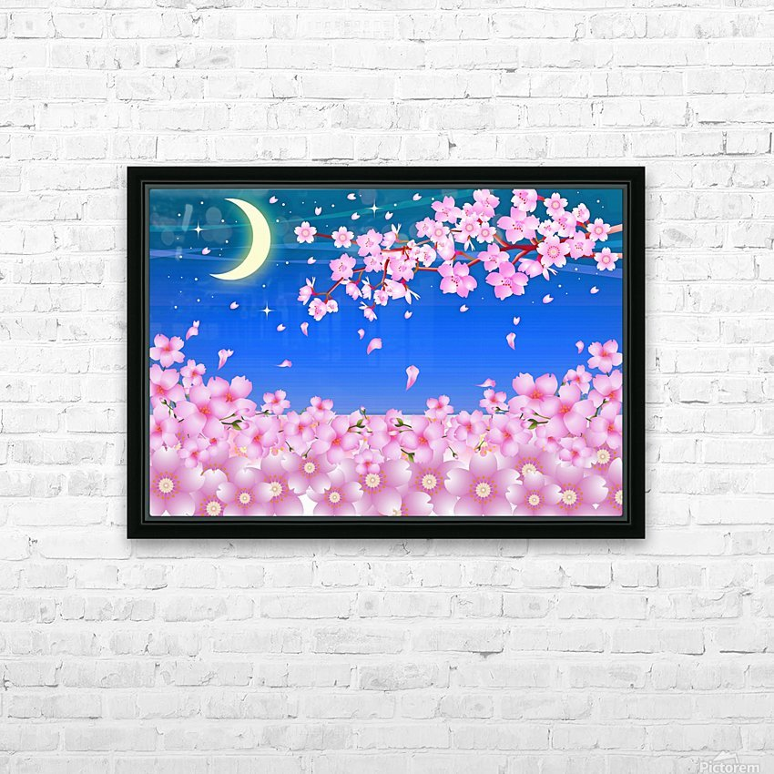 sakura cherry blossom night moon HD Sublimation Metal print with Decorating Float Frame (BOX)