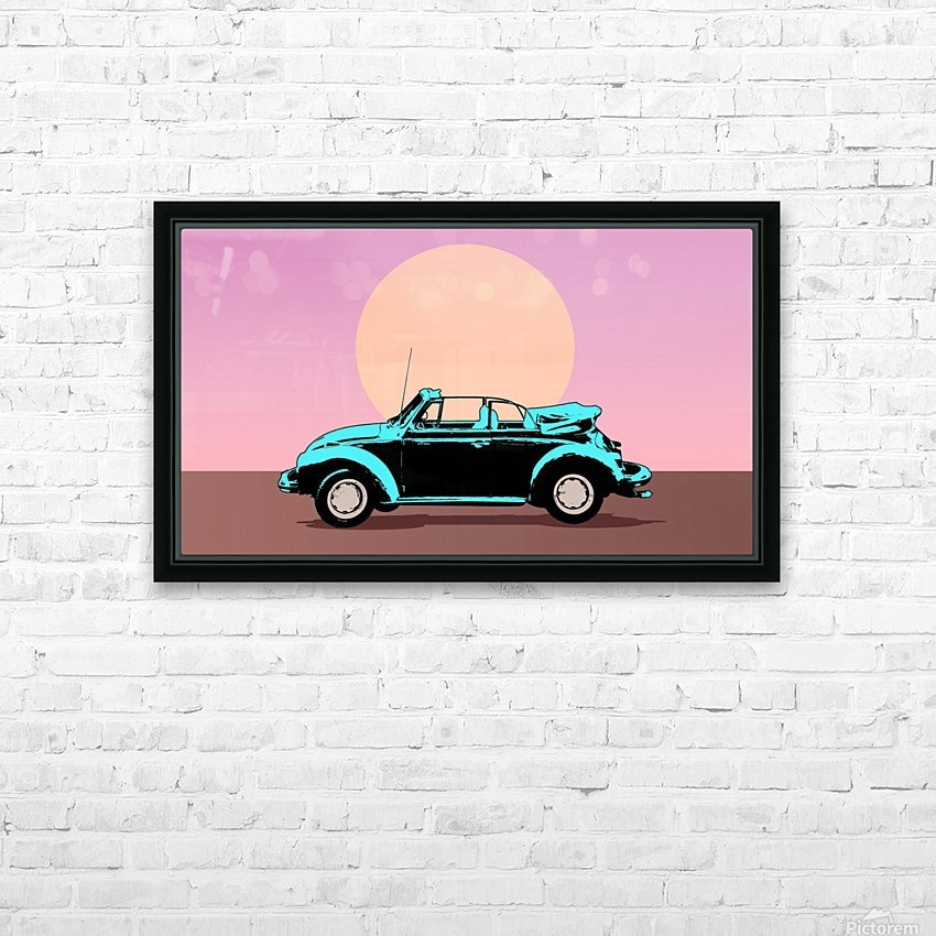 car poster retro vintage landscape HD Sublimation Metal print with Decorating Float Frame (BOX)