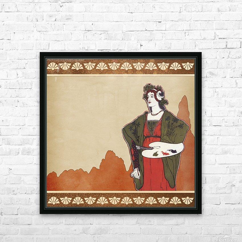 art nouveau vintage woman artist HD Sublimation Metal print with Decorating Float Frame (BOX)