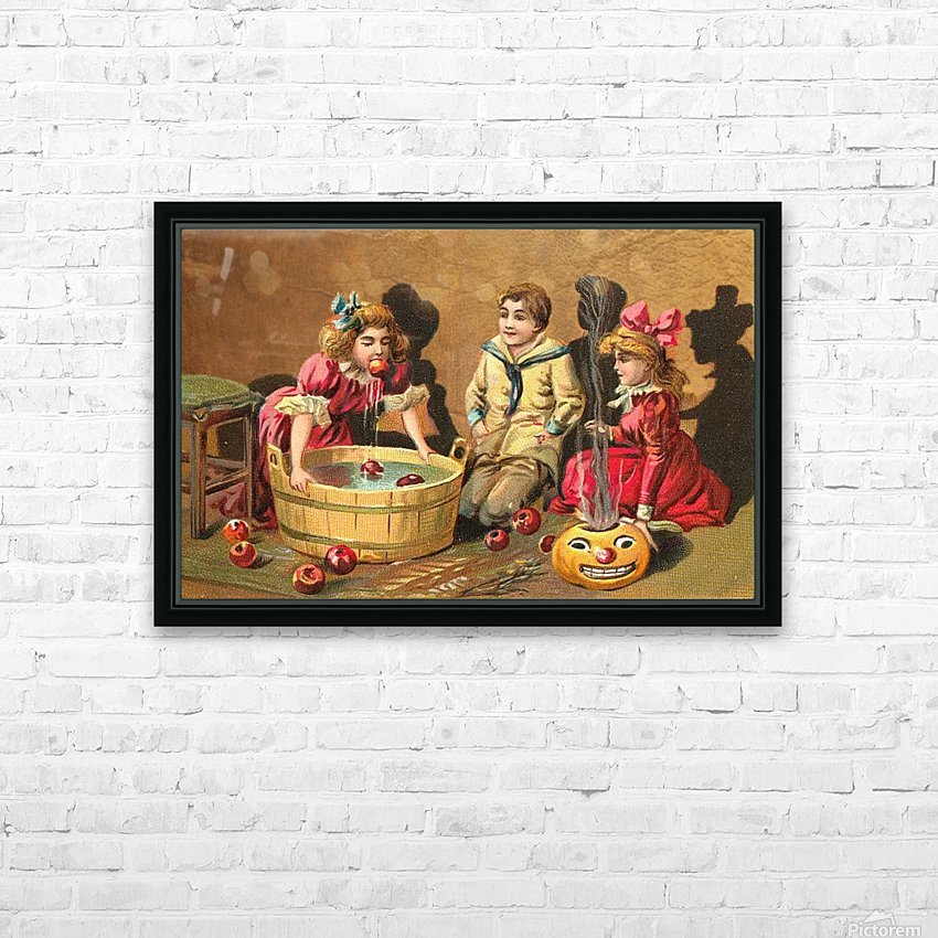 halloween vintage kids card happy HD Sublimation Metal print with Decorating Float Frame (BOX)