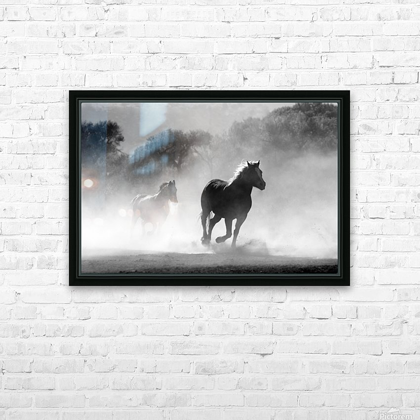 horse herd dust nature wild HD Sublimation Metal print with Decorating Float Frame (BOX)