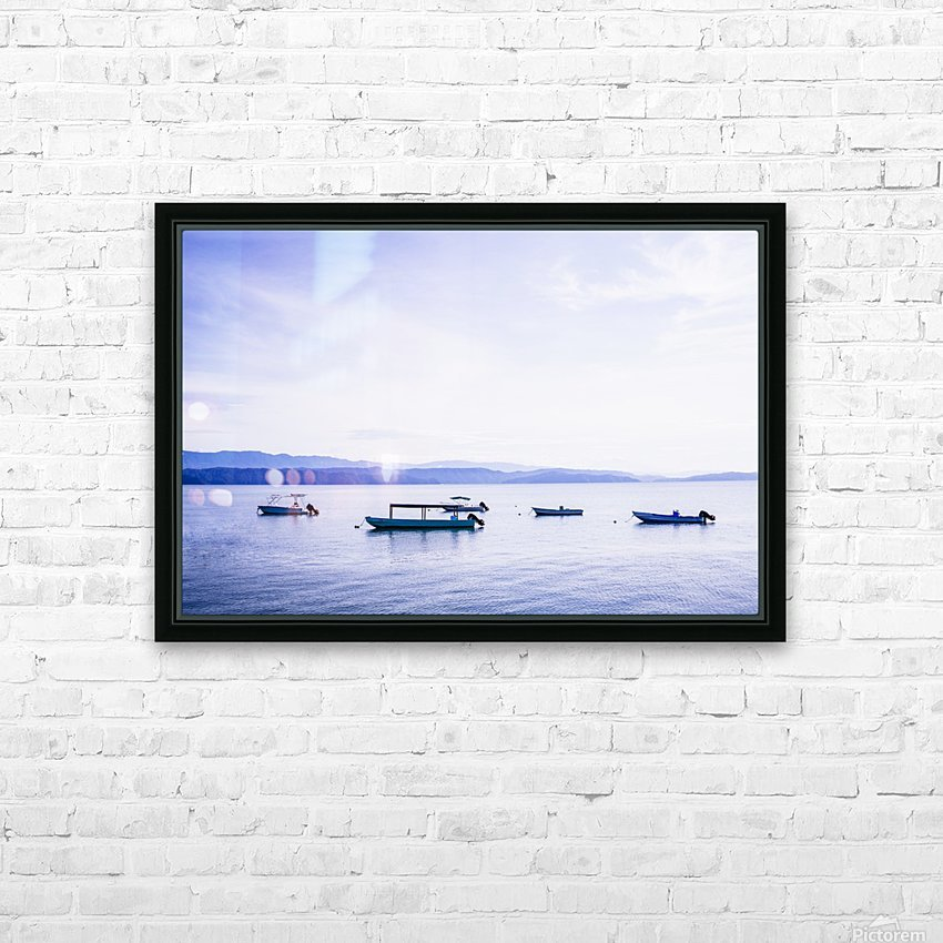 Sunrise in the Osa peninsula with boats in harbour HD Sublimation Metal print with Decorating Float Frame (BOX)