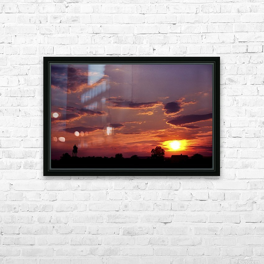 Manasas Battlefields Sunset With Statue Silhouette in left Corner HD Sublimation Metal print with Decorating Float Frame (BOX)