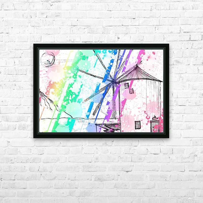windmill art print multicolor 02 HD Sublimation Metal print with Decorating Float Frame (BOX)