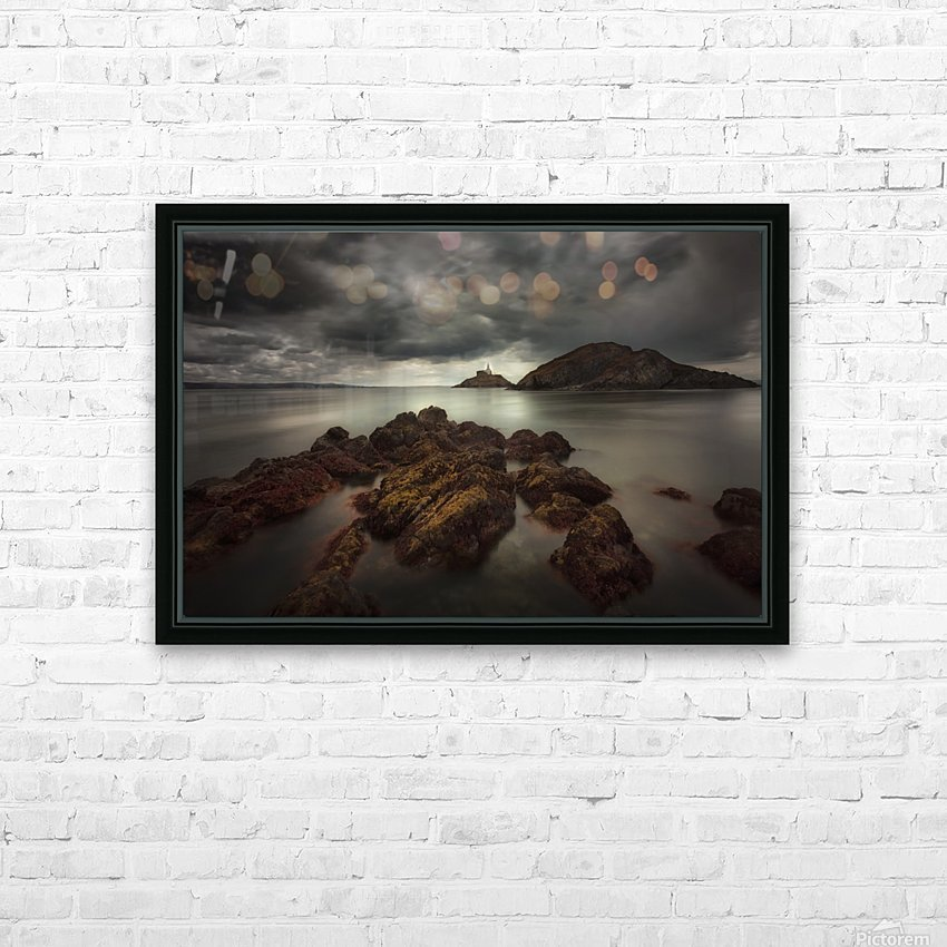 Storm clouds over Mumbles lighthouse HD Sublimation Metal print with Decorating Float Frame (BOX)