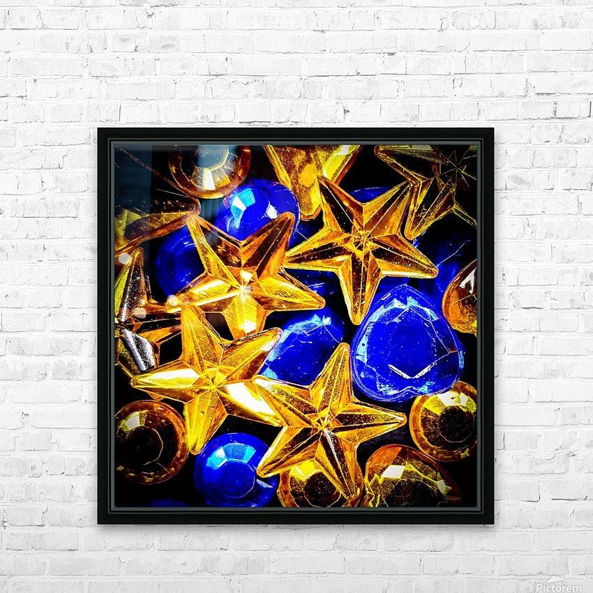 Blue and Gold Plastic Jewels HD Sublimation Metal print with Decorating Float Frame (BOX)