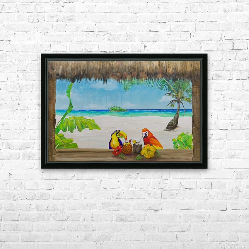Beach tiki  HD Sublimation Metal print with Decorating Float Frame (BOX)