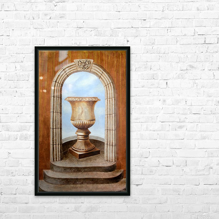 Marbled Urn Alcove - Trompe Loeil HD Sublimation Metal print with Decorating Float Frame (BOX)