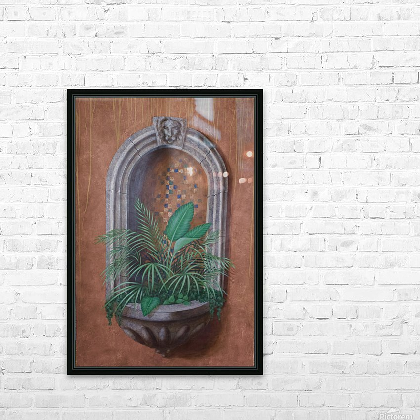 Wall Alcove with Plants - Trompe Loeil HD Sublimation Metal print with Decorating Float Frame (BOX)