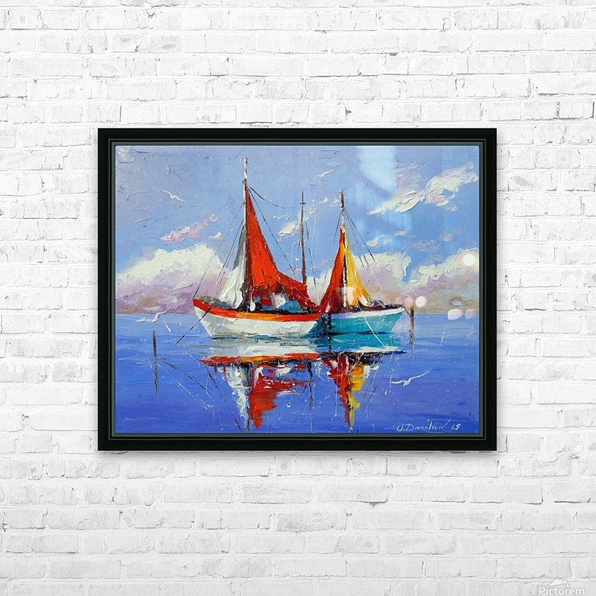 Sailboats in the sea HD Sublimation Metal print with Decorating Float Frame (BOX)