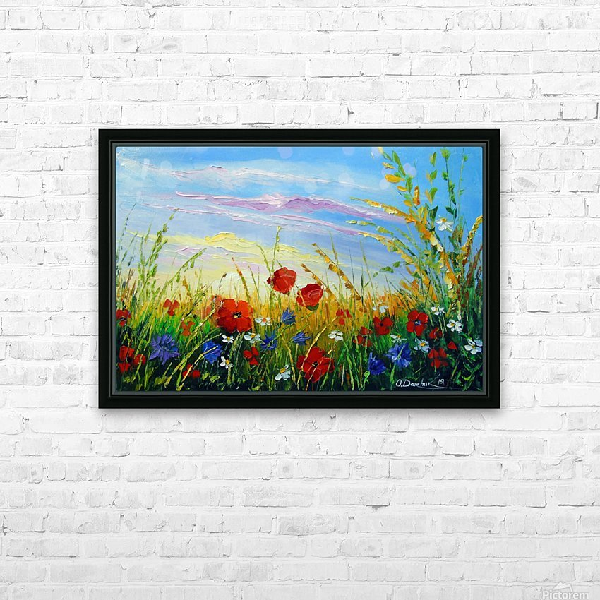 Summer flowers in the oil painting field HD Sublimation Metal print with Decorating Float Frame (BOX)