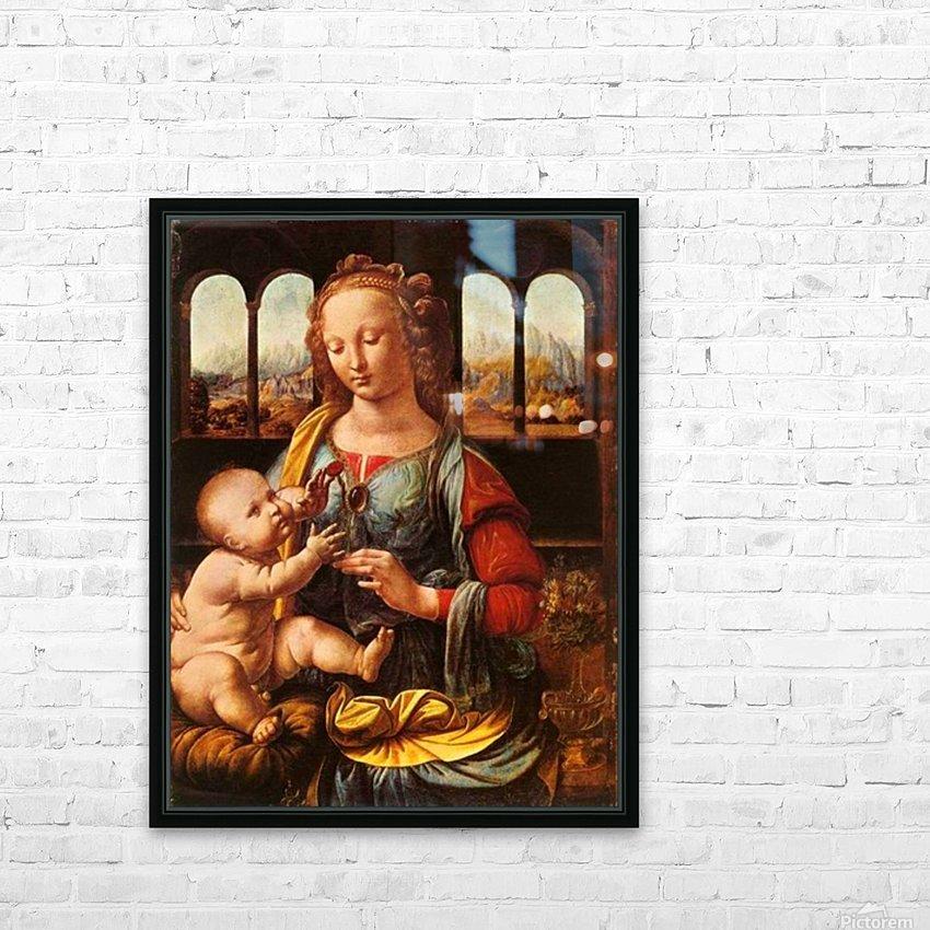 Leonardo da Vinci. The Madonna of the Carnation HD 300ppi HD Sublimation Metal print with Decorating Float Frame (BOX)