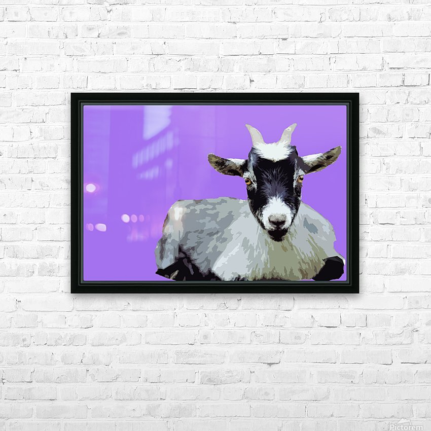 Goat popart purple HD Sublimation Metal print with Decorating Float Frame (BOX)