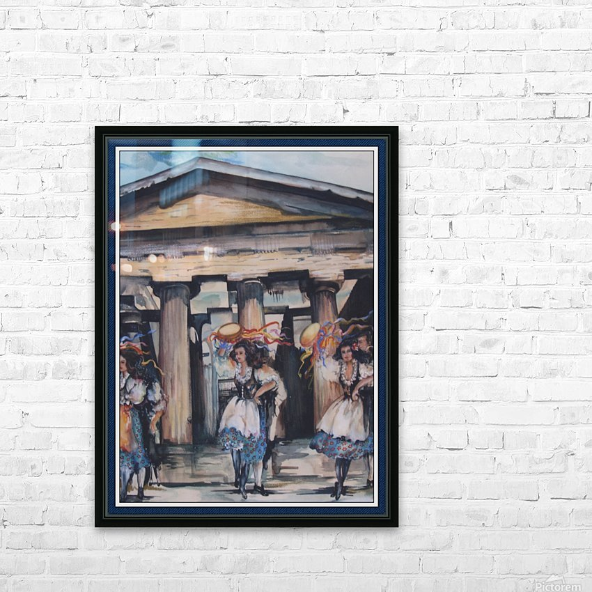 Italian Tamborine Dancers  HD Sublimation Metal print with Decorating Float Frame (BOX)