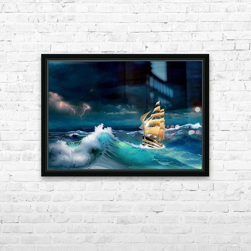 Hard way sailboat. sailing ship HD Sublimation Metal print with Decorating Float Frame (BOX)