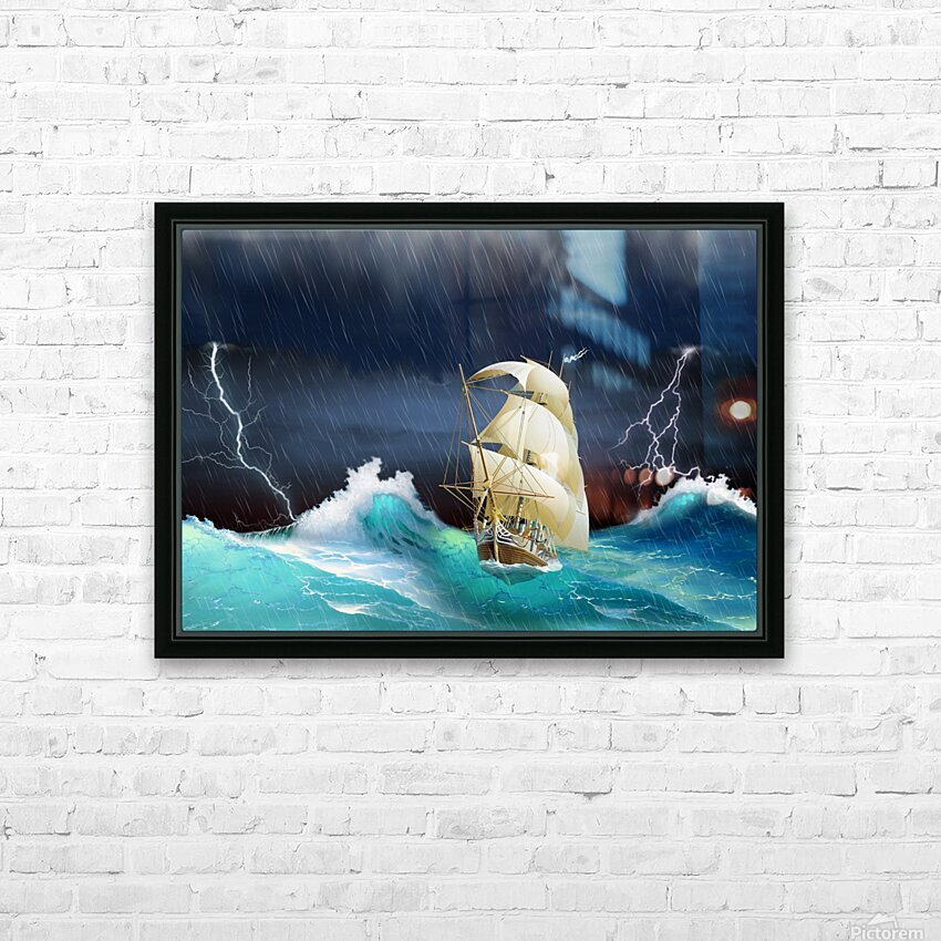 Dangerous journey sailing ship.  HD Sublimation Metal print with Decorating Float Frame (BOX)