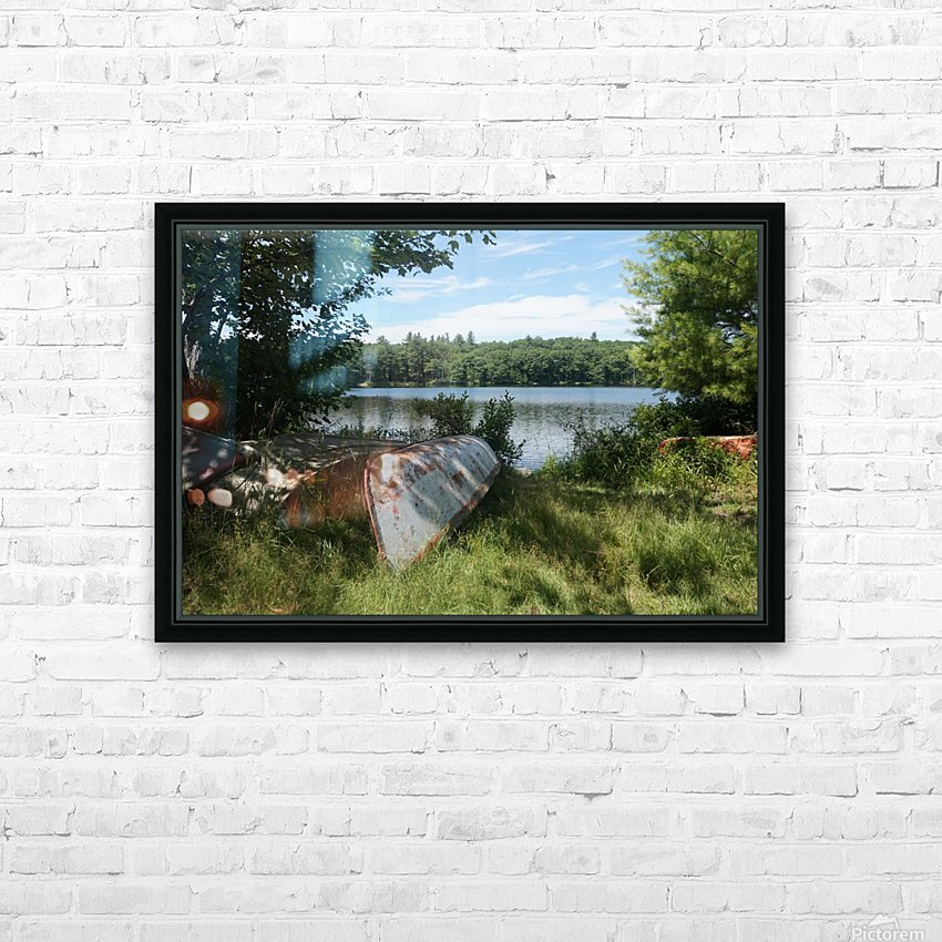 Lonely canoe HD Sublimation Metal print with Decorating Float Frame (BOX)