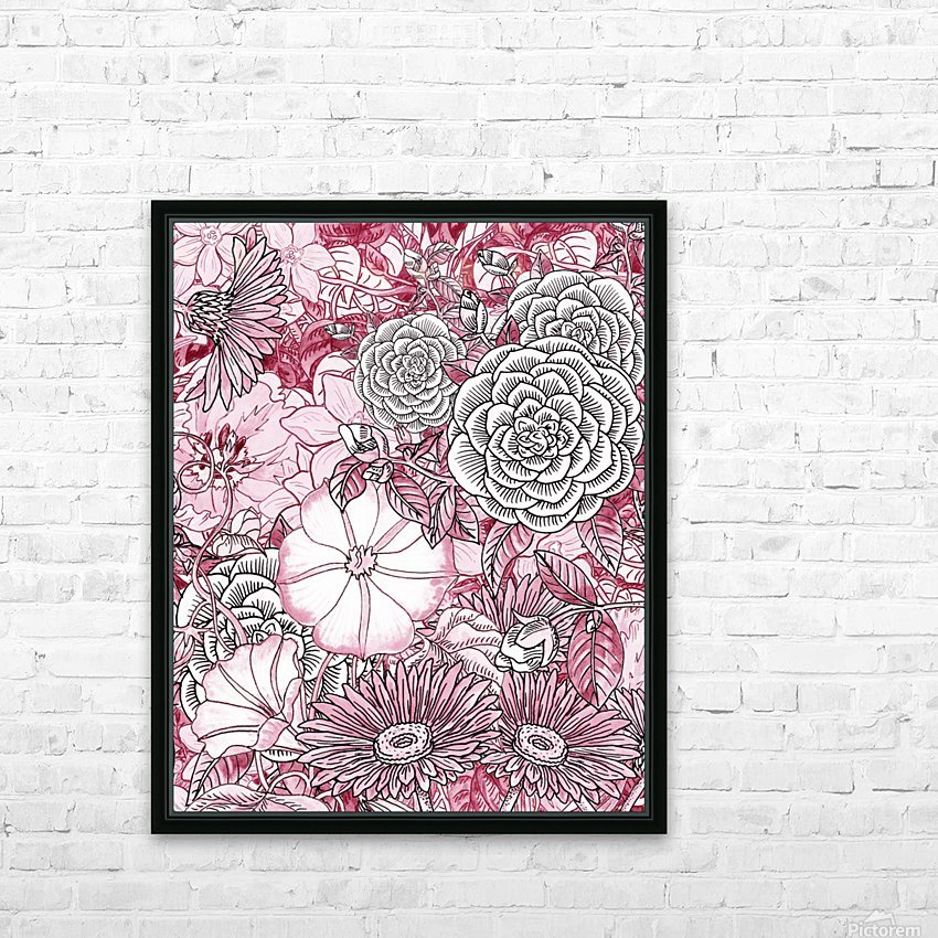 Watercolor Botanical Flowers Garden Pink Flowerbed III HD Sublimation Metal print with Decorating Float Frame (BOX)