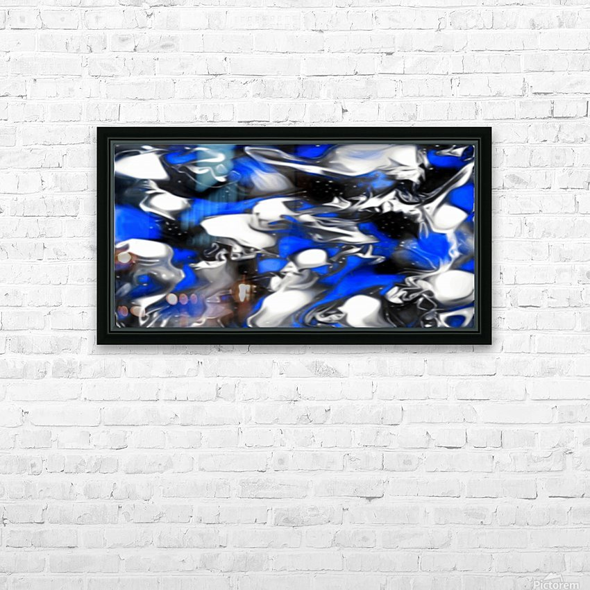Booster - blue white black silver spots swirls abstract wall art HD Sublimation Metal print with Decorating Float Frame (BOX)