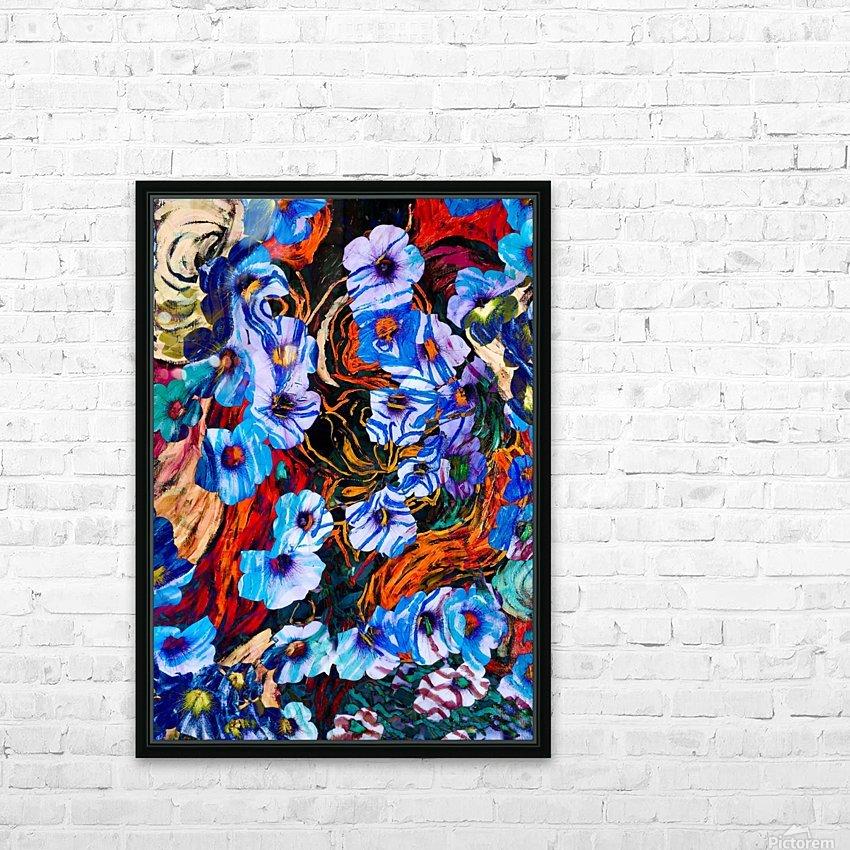 floral mottled indigo HD Sublimation Metal print with Decorating Float Frame (BOX)