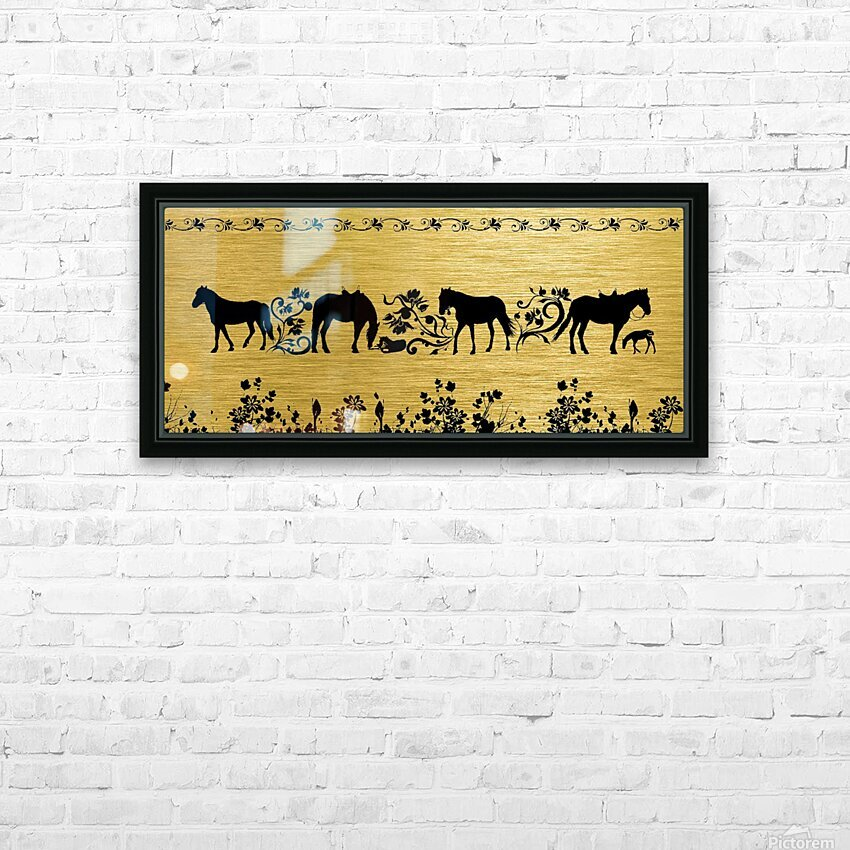 Gold illustration for interior decoration 2 HD Sublimation Metal print with Decorating Float Frame (BOX)